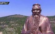 Drone buzzes over world's tallest Confucius statue in China